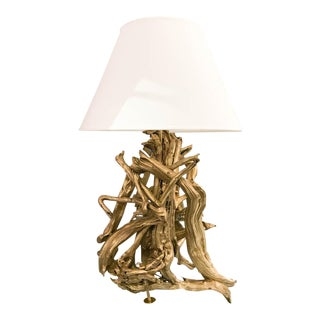 Large Mid Century Driftwood Lamp in Gold