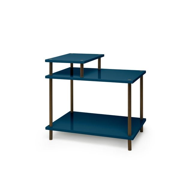 Contemporary Addison Bedside Table in Indigo Blue - Veere Grenney for The Lacquer Company For Sale - Image 3 of 3