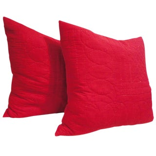 19th Century Red Quilted Fabric from Pennsylvania Pillows, Pair For Sale