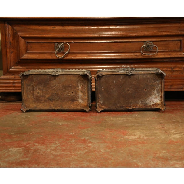 19th Century French Polished Iron Outdoor Jardinières With Raised Decors - a Pair For Sale - Image 10 of 11
