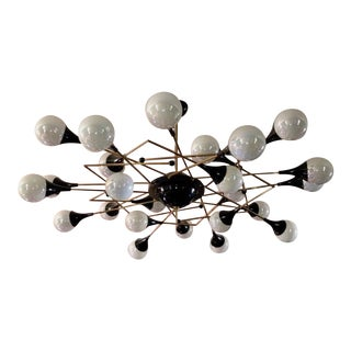 Bespoke Italian Geometric White Glass Black Lacquered Brass 24-Light Flushmount For Sale