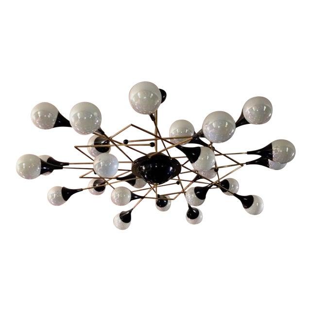 Bespoke Italian Geometric White Glass Black Lacquered Brass 24-Light Flushmount For Sale
