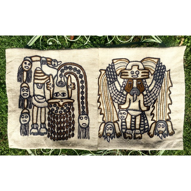 1960s Peruvian Indigenous Craft Hand Stitched Pillow Covers - a Pair For Sale - Image 13 of 13