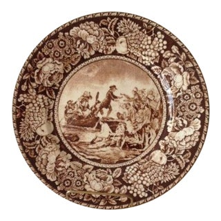 1960s English Traditional Royal Fenton Brown TransferWare Plate