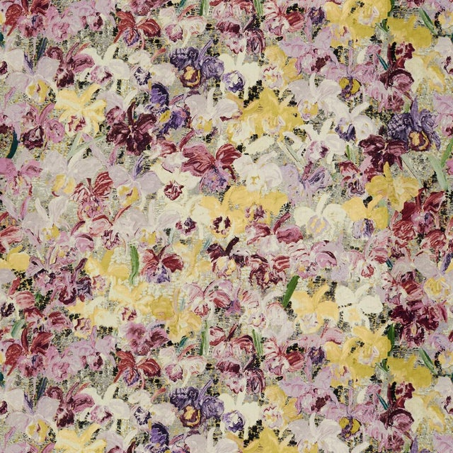 Contemporary Hunt Slonem for Lee Jofa, Catelayas 2 Fabric, Purple/Berry, 1 Yard For Sale - Image 3 of 3