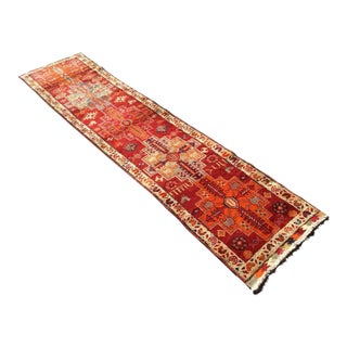 Vintage Hand Knotted Turkish Runner For Sale