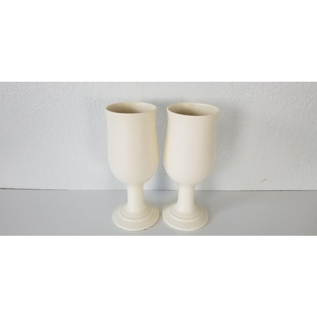 Ceramic Vintage Royal Haeger Flat White Glazed Ceramic Vases - a Pair For Sale - Image 7 of 7