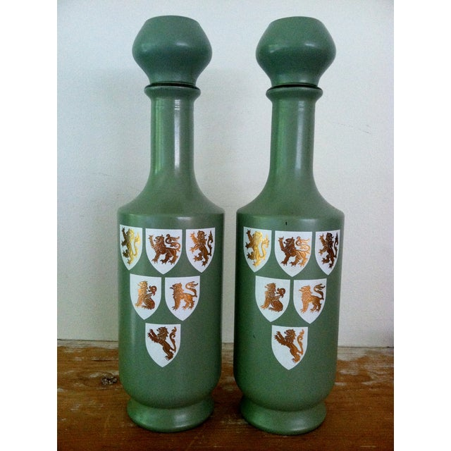 1960s Painted Glass Wine Decanters- A Pair - Image 2 of 6