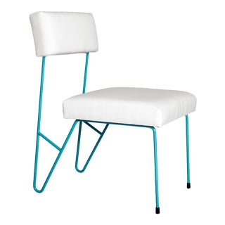 Fay Outdoor Dining Side Chair, White Upholstered Sunbrella with Turquoise Powder Coated Stainless Steel Base For Sale