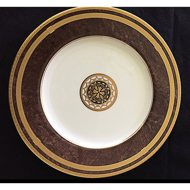 Traditional Mahogany Florentine Luncheon or Dessert China Set - 18 Pieces For Sale - Image 3 of 13