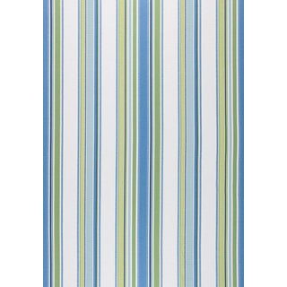 Contemporary Thibaut Barnegat Stripe Green and Blue Woven Fabric - 1 Yard For Sale