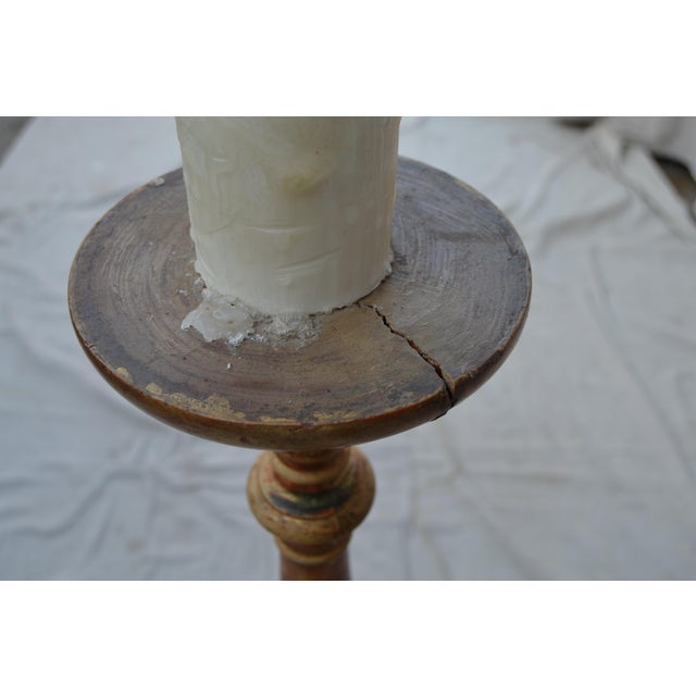Giltwood Antique Candlestick Floor Lamp For Sale - Image 7 of 9