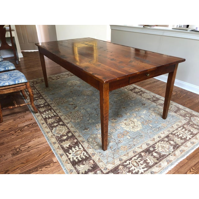 Wright Table Company Classic Distressed Hard Wood Farm Table For Sale - Image 11 of 13