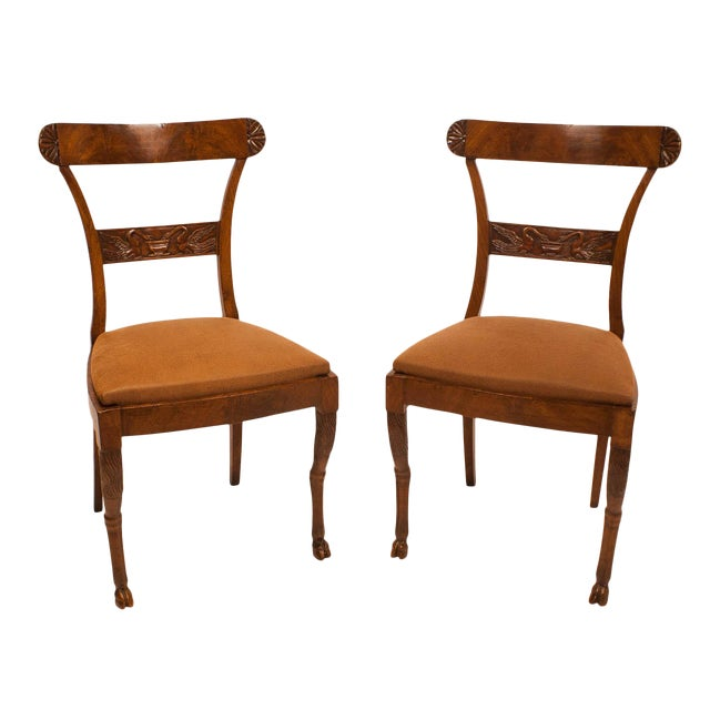 Walnut Neoclassical Side Chairs - A Pair For Sale