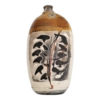 Extra-Large Vintage Hand-Painted Japanese Studio Art Pottery Raku Vase - 1960s Mid Century Organic Modern Earthenware Natural Boho Chic Ceramic For Sale