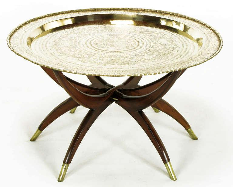 Beau Moroccan Incised Brass U0026 Mahogany Folding Six Leg Tray Table   Image 2 ...