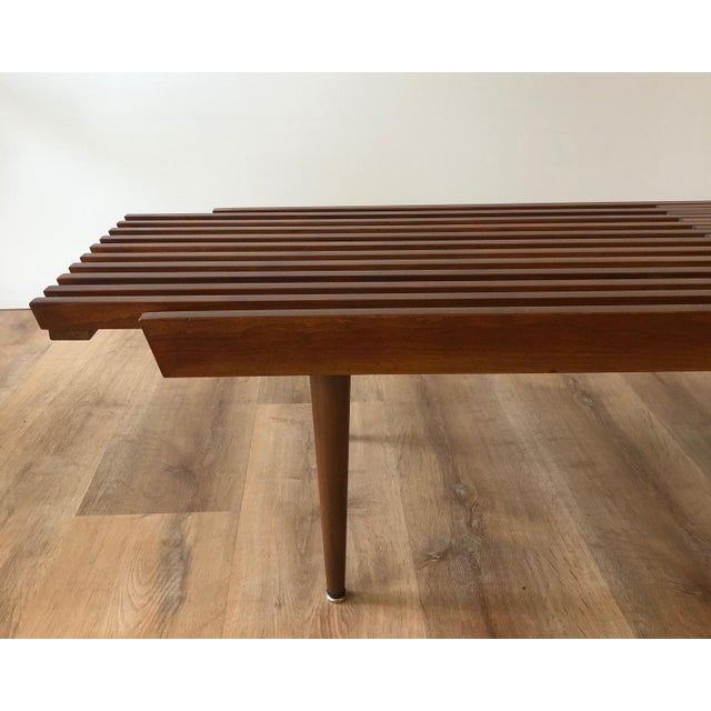 Mid-Century Modern 1960s Mid-Century Modern Slat Bench Coffee Table For Sale - Image 3 of 6