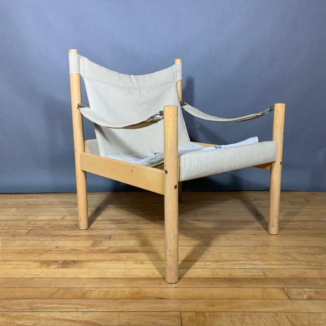 Late 20th Century Oak & Canvas Safari Chair, Grainsack Seat, Worts Style For Sale - Image 5 of 11
