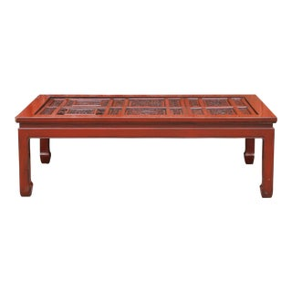 Rare Chinese Filigree Carved Top Table For Sale
