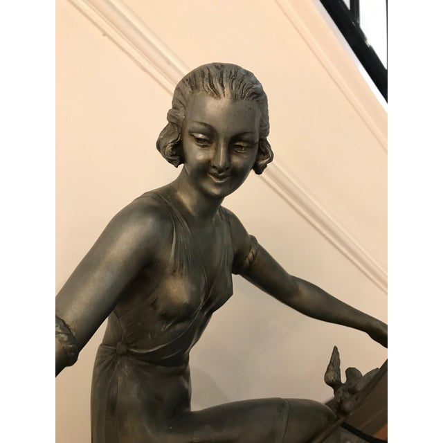 Black French Art Deco Female Sculpture on Marble For Sale - Image 8 of 13
