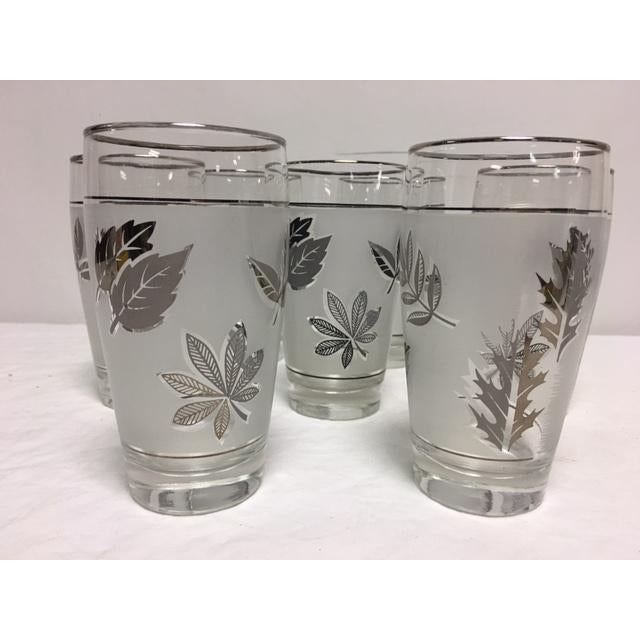 Mid-Century Libbey Silver Leaf & Wheat Glasses - Set of 7 For Sale - Image 5 of 7