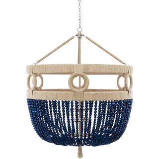 "Frankie Malibu 30"" Chandelier - Navy Agate / Brass / Natural For Sale"