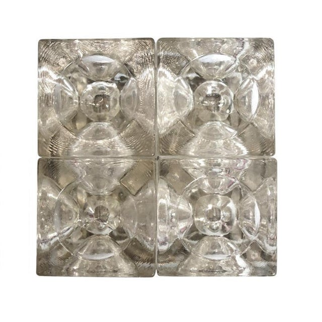 Vintage Italian wall lights or flush mounts with clear Murano glass cubes with indented pattern mounted on nickel back...