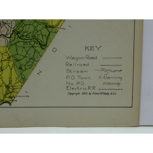 Vintage Rand McNally 1911 Color Map of Armstrong County Pennsylvania For Sale In Pittsburgh - Image 6 of 7