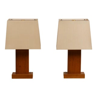 Pair of Chic Cubist Bedside / Table Lamps With Custom Silk Shades For Sale