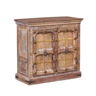 Rustic Wide White Washed Carved 2-Door Sideboard For Sale