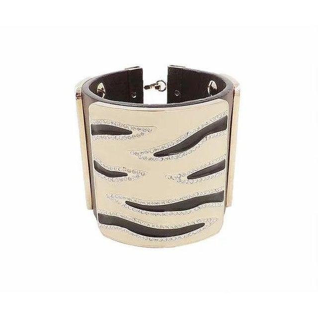 Valentino Leather & Enamel Zebra Stripe Rhinestone Cuff Bracelet For Sale - Image 4 of 12