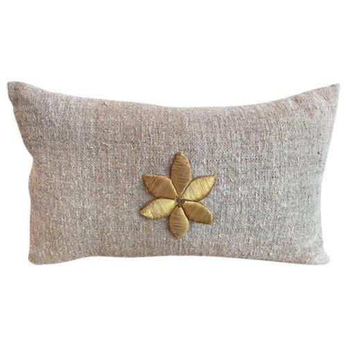 Antique Gold Flower Applique Pillow For Sale