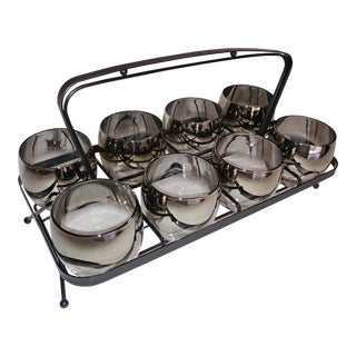 1960s Silver Fade Glasses With Caddy - Set of 8 For Sale