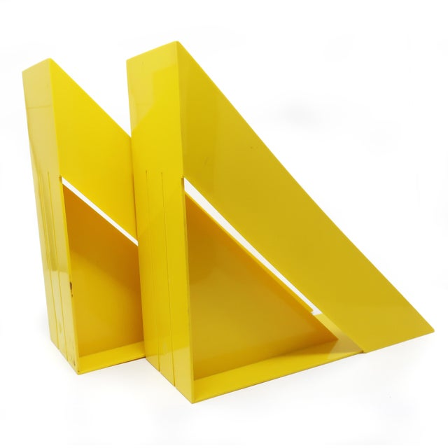 Robert Heller Pair of Yellow Record or Magazine Racks by Giotto Stoppino for Heller For Sale - Image 4 of 7