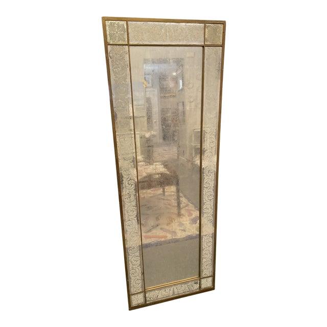 Antique 1920s White Gold Leaf Floor Mirror For Sale