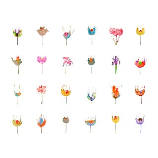 Contemporary Colorful Botanical Prints - Set of 24