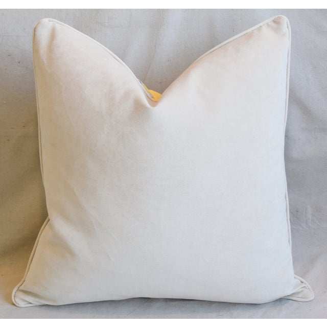 """American Designer English Floral & Nature Linen/Velvet Feather & Down Pillow 24"""" Square For Sale - Image 3 of 5"""
