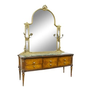 1960s Italian Mid Century Marble Top Commode & Mirror For Sale