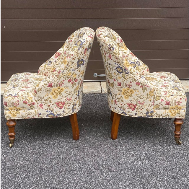 Late 20th Century Tufted Floral Slipper Chairs - a Pair For Sale - Image 5 of 13