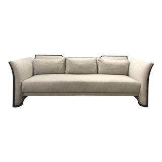 Caracole Modern Gray Leading Edge Sofa For Sale
