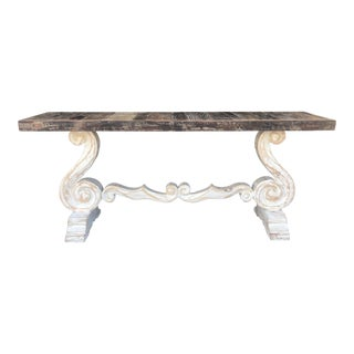 Boho Chic Weathered Pine Top Console For Sale