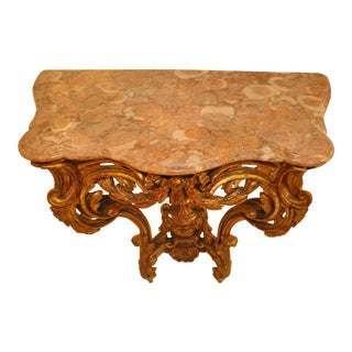 Pair of Italian Carved and Water Gilt Console Tables With Marble Tops For Sale