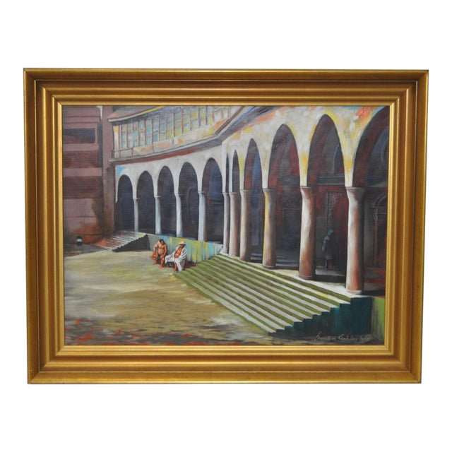 "Frank Ashley ""Facade at Santa Cruz"" Original Oil Painting - Image 1 of 11"