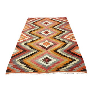 Vintage Diamond Design Turkish Kilim Rug For Sale