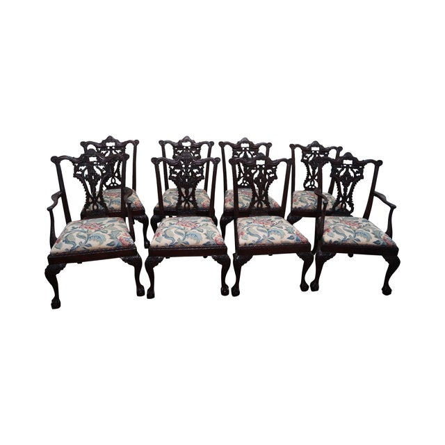 Honduras Mahogany Carved Dining Chairs - Set of 8 - Image 1 of 10