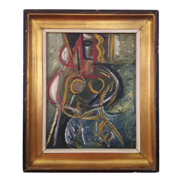 Vintage Mid-Century Cubist Inspired Female Portrait Painting For Sale