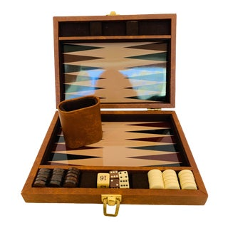 Vintage Backgammon Game in Faux Leather Case For Sale
