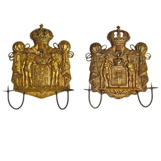 1920s Traditional Gilt Bronze Neoclassical Candle Wall Sconces - a Pair