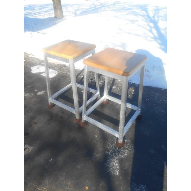 Awesome pre-owned Pair of Brushed Aluminum Kitchen / Bar Stools with Hard Rock Maple Seats. The stools are in terrific...