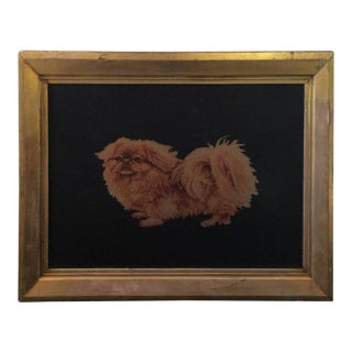 Late 19th Century Needlepoint Pekingese Dog in Original Victorian Gold Leaf Frame For Sale